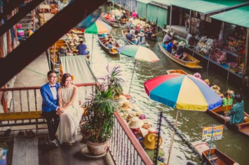 Thailand Damnoen Saduak Floating Market Wedding Photography | NET-Photography Thailand Wedding Photographer