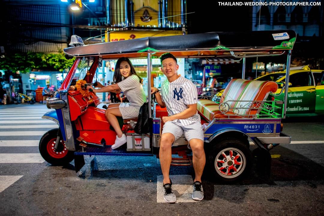 Yaowarat China Town Bangkok Thailand Prenuptial (Pre-Wedding, Engagement Session) with Tuk Tuk