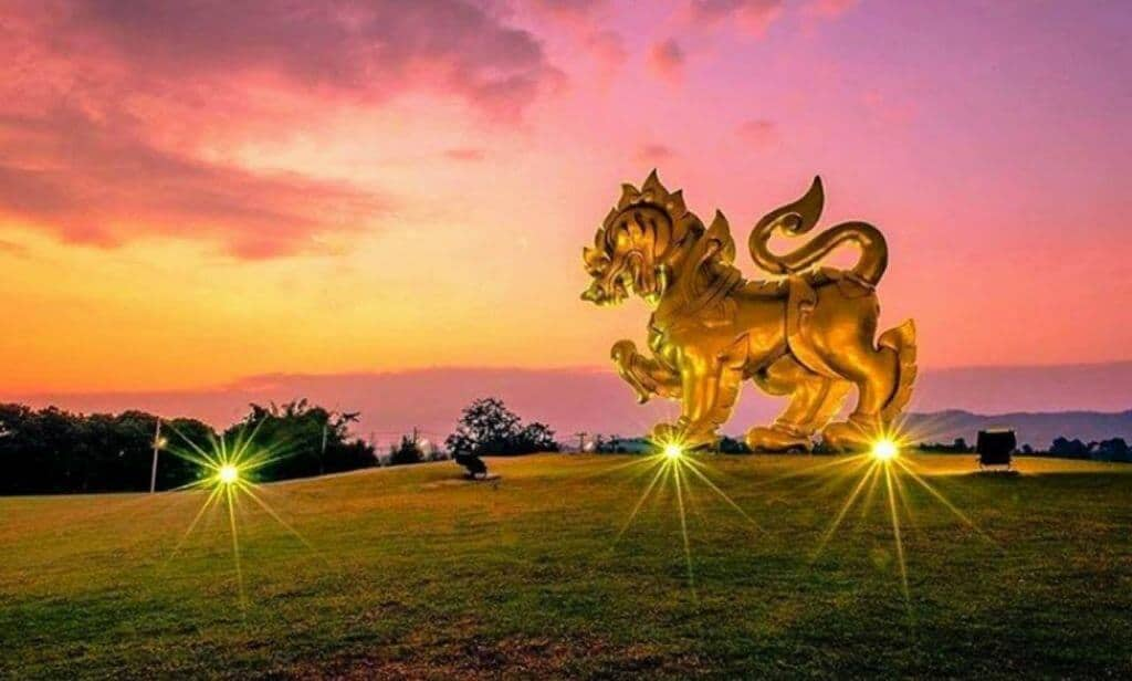 Singha lion trademark in 3d in the field of Singha park. Thailand Event Guide