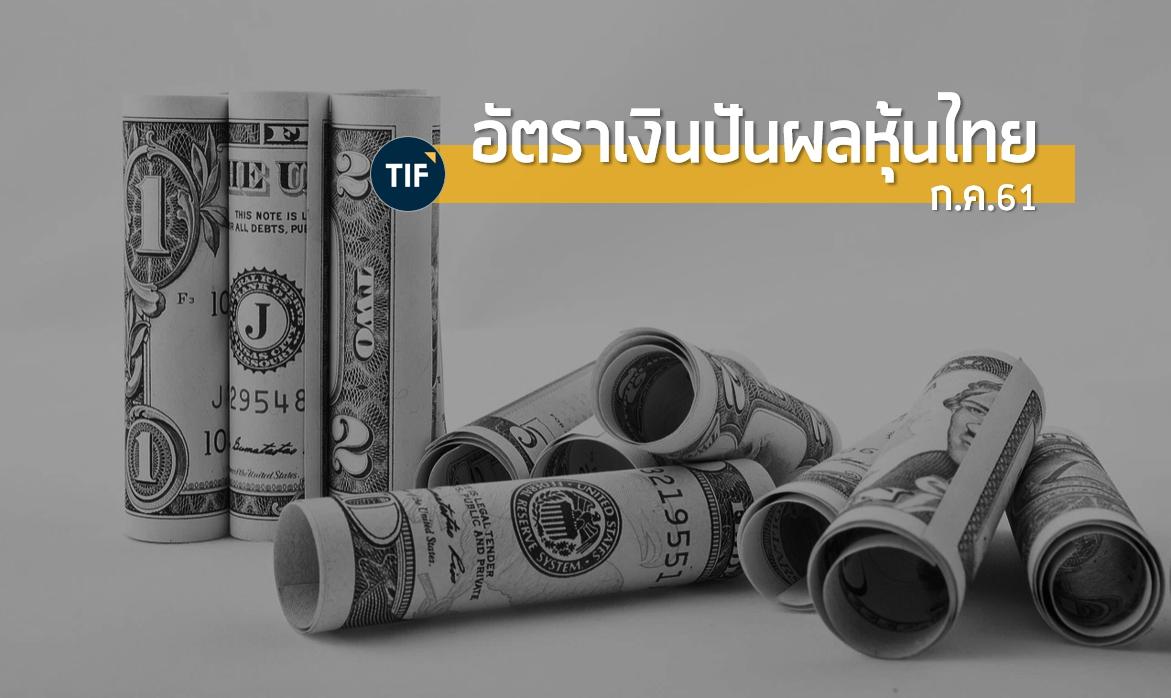 อัตราเงินปันผล หุ้นใหญ่ หุ้นปันผล กองทุนอสังหาฯ พร้อมตารางสรุป Passive Income ณ ก.ค. 61