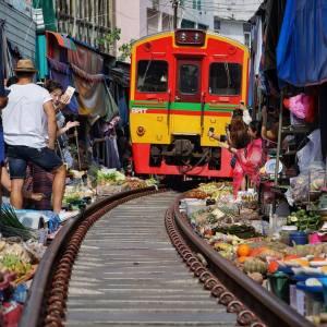 The Railway Market at at Samut Songkhram