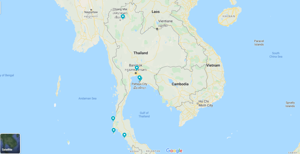 Map of Naturist Resorts in Thailand