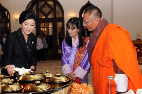 Tshering Tobgay listening to Yingluck