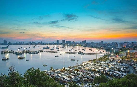 Pattaya bay at sunset.