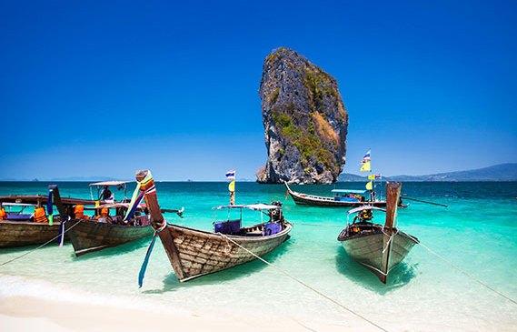 Boats in a Phuket lagoon.