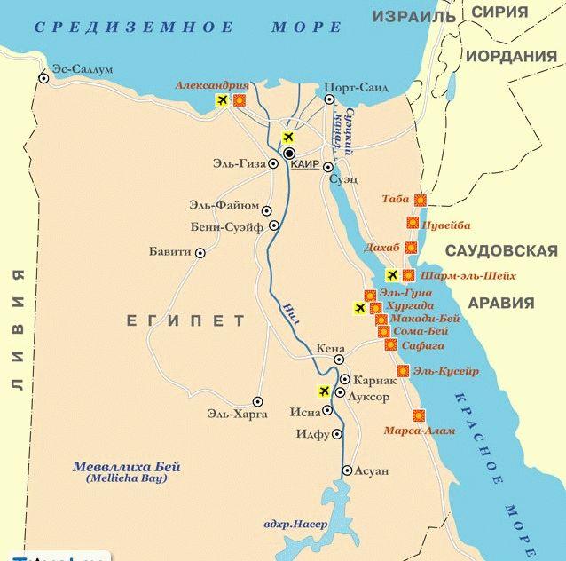 курорты египта карта