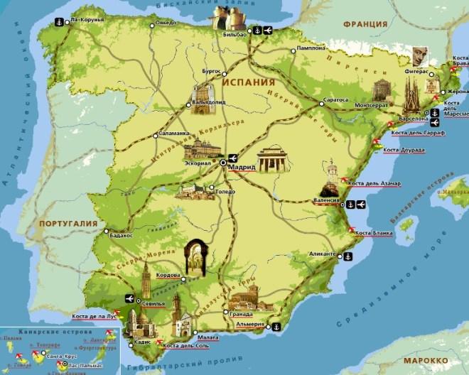 Карта пляжей Испании
