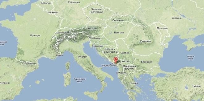 Где находится Черногория на карте