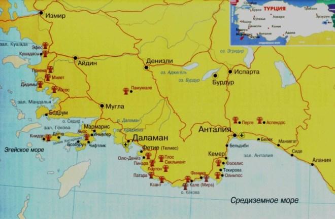 Какое море в Анталии - карта