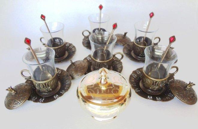 посуда ручной работы из керамики и латуни из Турции