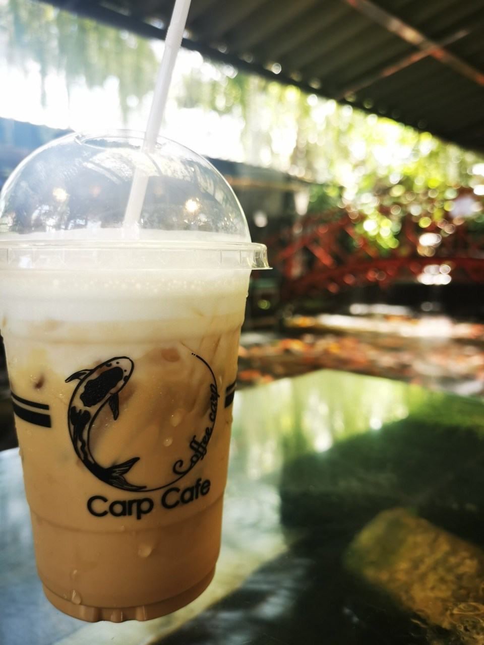 Ice cafe latte at the Carp Cafe