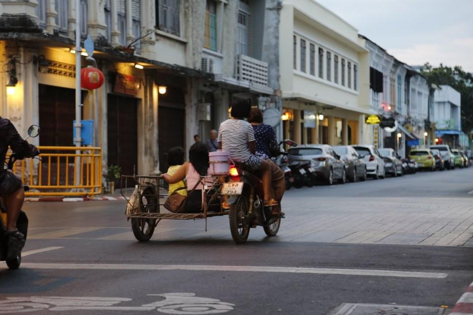 Traffic scene in Phuket Old Town