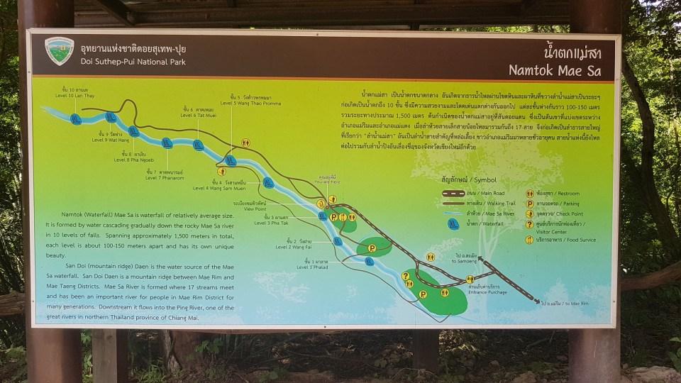 Map of Mae Sa waterfall, Chiang Mai