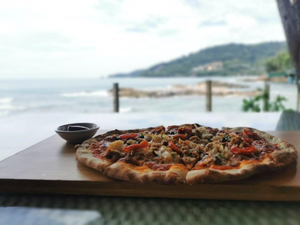 Seafood pizza at SeaSalt Kalim