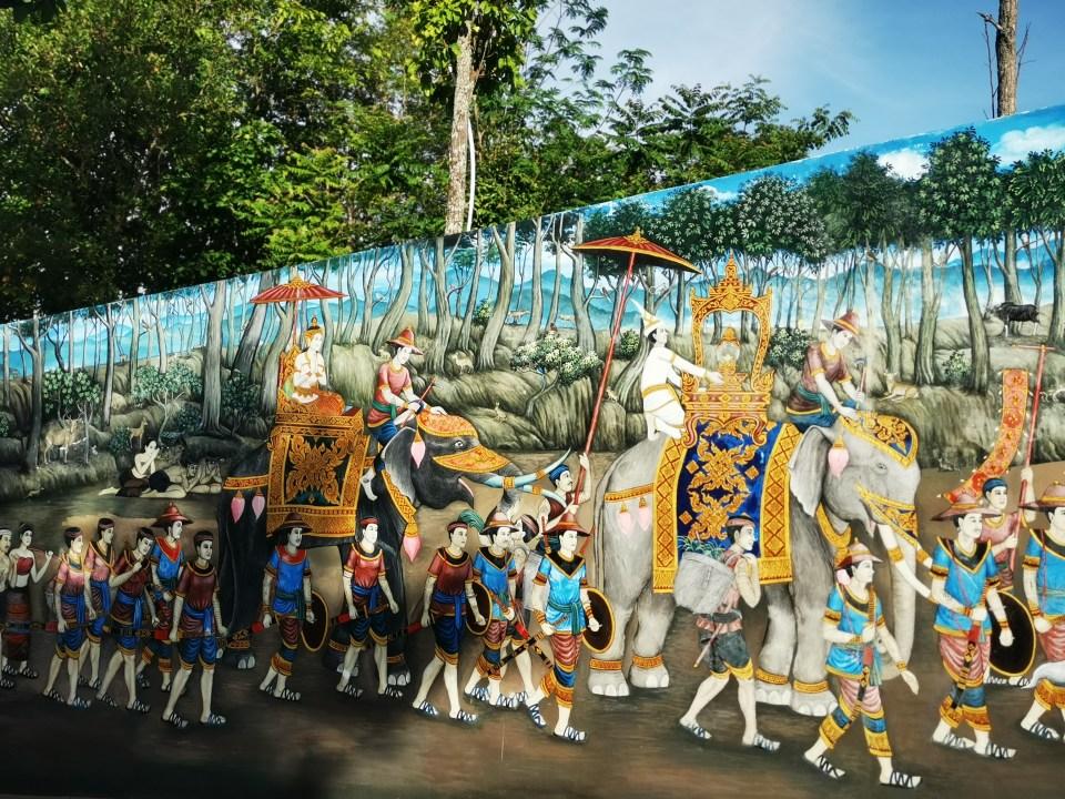 A wall painting at Wat Doi Kham