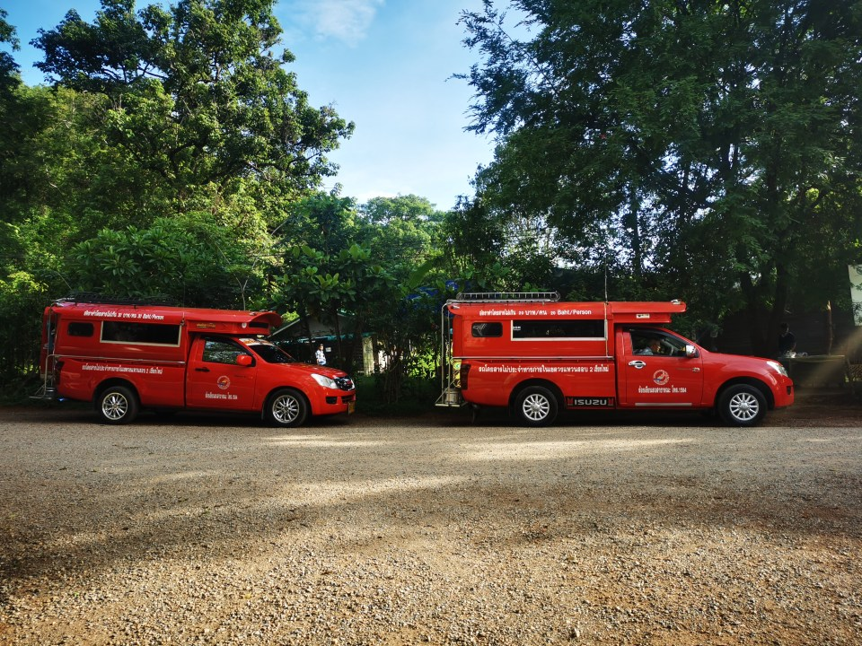 Songtaew, red buses in Chiang Mai.