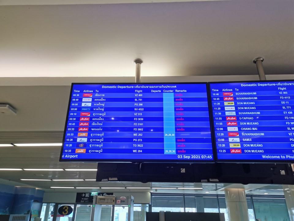 Domestic departure board Phuket Airport