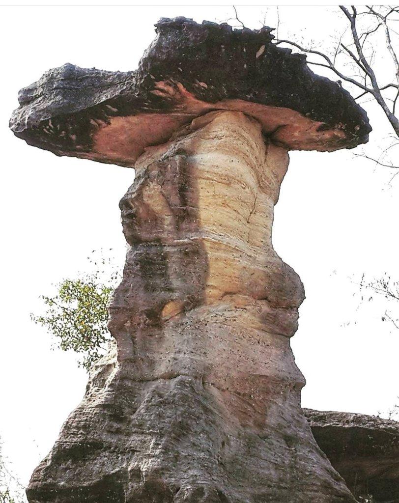 A mushroom pillar in Pha Thaem nationalpark of two kinds of sandstone.