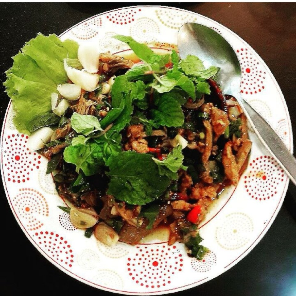 Duck laap , typical food in the Northeast of Thailand. Here at Som Tam Jinda.