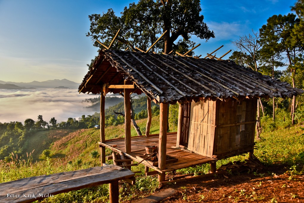 Field hut overlooking Ban Tham - November sunrises are beautiful with mist in the valleys