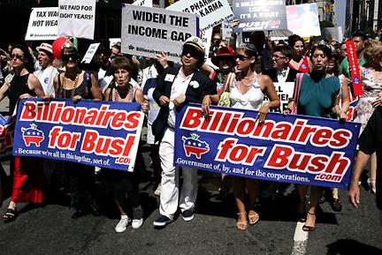 กลุ่ม Billionaires for Bush เดินขบวนในนิวยอร์กซิตี้