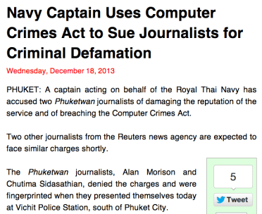 Navy Captain Uses Computer Crimes Act to Sue Journalists for Criminal Defamation
