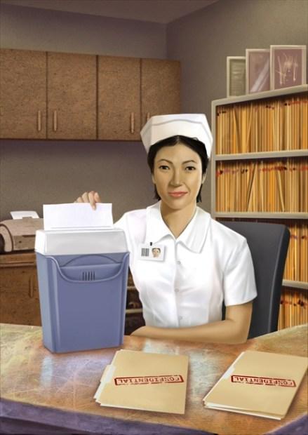 นางพยาบาลกำลังทำลายเอกสารข้อมูลลับ