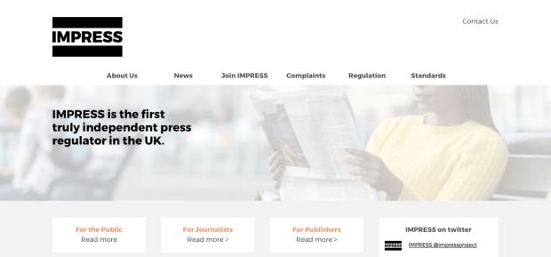 เว็บไซต์ของ IMPRESS องค์กรกำกับดูแลกันเองของสื่อ ที่ได้รับรองโดย Royal Charter