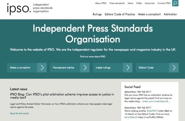 เว็บไซต์ของ Independent Press Standards Organisation (IPSO) ipso.co.uk องค์กรกำกับกันเองของสื่อ ที่มาแทนที่ Press Complaints Commission (PCC)