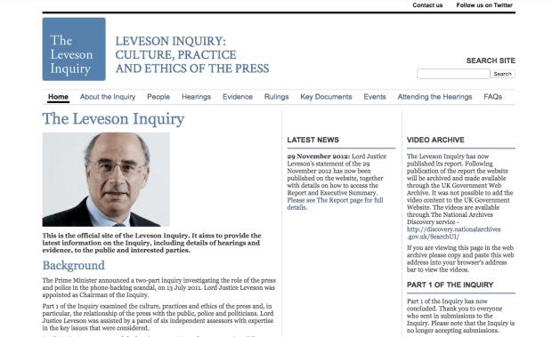 เว็บไซต์การไต่สวนเลเวอสัน levesoninquiry.org.uk