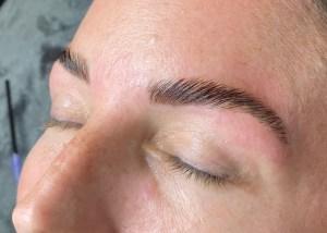 Brow lamination by Krisann Knots, eyebrow lamination specialist