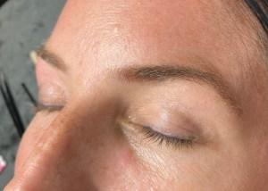 Before eyebrow lamination service by Krisann Knots, eyebrow lamination specialist