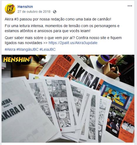"""Print da página """"Henshin"""", mostrando um dos materiais que a editora estava trabalhando"""
