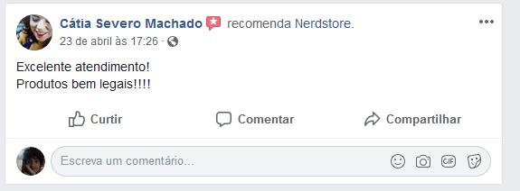 """Avaliação da página no Facebook da empresa Nerd Store: """" Excelente atendimento! Produtos bem legais!!!"""""""