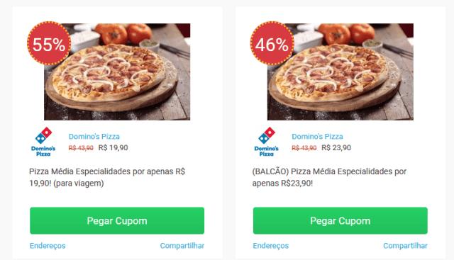 Print de dois cupons de desconto de uma pizzaria