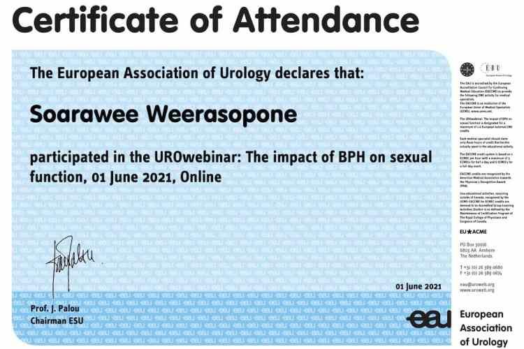 2021 European Urology Association training impact of Prostate disease on sexual