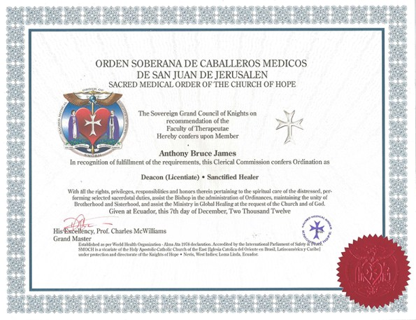 Dr. Anthony B. James SMOKH Ordained Deacon (Licentiate) Certificate