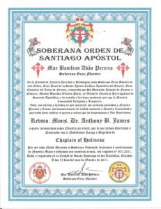 Ordination Anthony B. James, Revmo (Monsignor), Chaplain of Holiness, Soberana Orden Santiago Apostol, Ancient Apostolic and Catholic Church of the East in Brazil