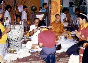 Phaa Khruu Samaii Bless the Students in the Annual Buddhai Sawan Masters Blessing ceremony