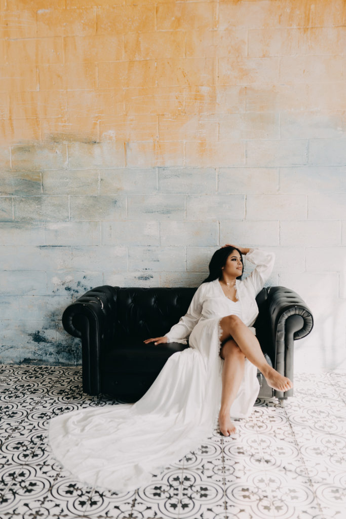 bride with bridal robe boudoir session