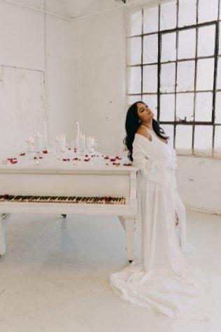 bridal boudoir bride with bridal robe