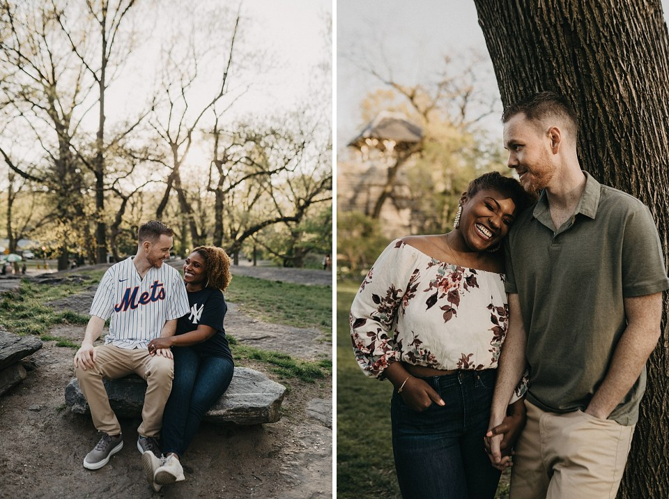 Couple sitting on Central Park Rock together with rival Baseball shirts on