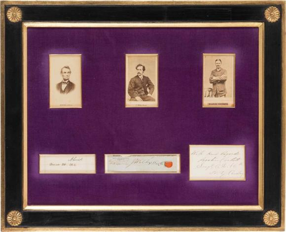 Handout photo of a frame with six windows that contain Carte-de-Visites and autographs of Abraham Lincoln, John Wilkes Booth and Boston Corbett