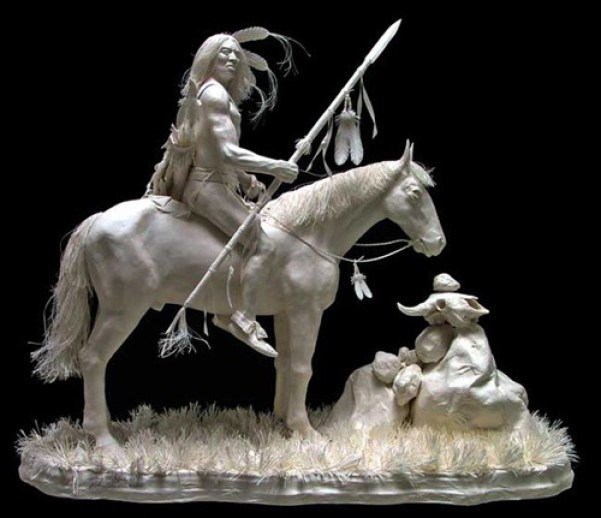 creative_sculptures_made_by_paper_indian_horserider