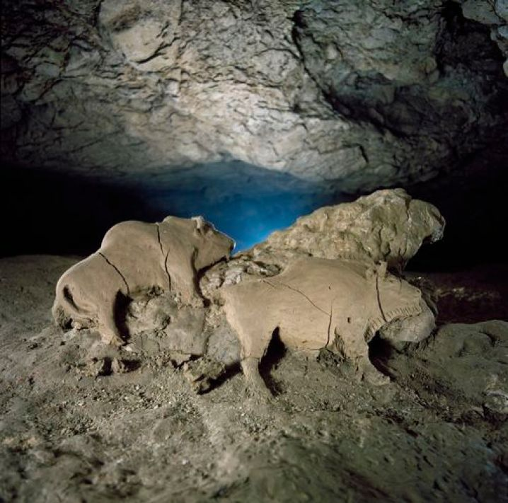 """Deep in the subterranean recesses of the French Pyrenees, unknown hands shaped bison from moist clay 14,000 years ago. The early artists negotiated a river at the cave's entrance, then walked and crawled a kilometer to reach this secret placxe. From a clay deposit the sculptors cut a slab about a meter wide, leaned it against an outcrop, and modeled a male and female bison, along with a miniature bison since removed. Tuc d""""audoubert cave was discovered in 1912."""