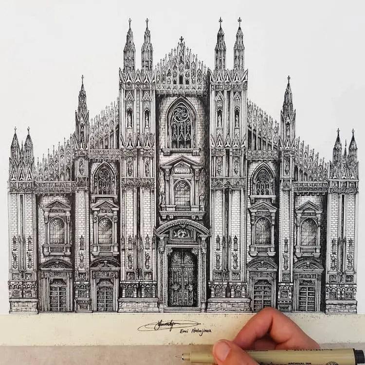 Tekeningen Van Gebouwen.Emi Nakajima En Haar Precisie Architecturale Tekeningen