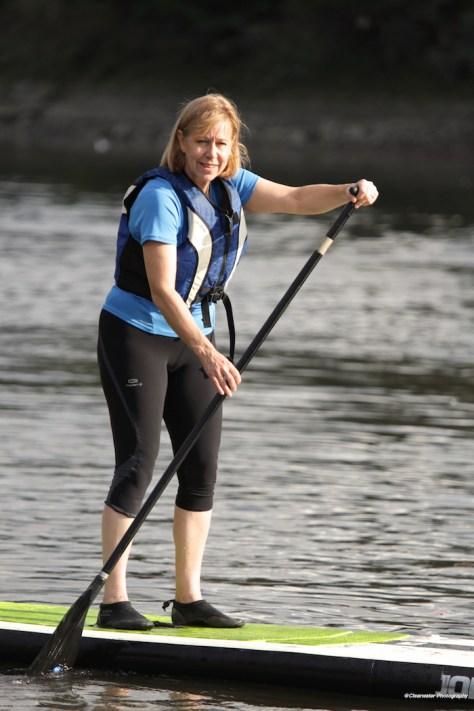 Ruth Cadbury paddle boarding at TideFest 2015