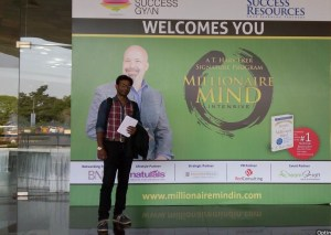 Emcee Thamizharasan at Chennai Trade Centre for Millionaire Mind Intensive Day 1