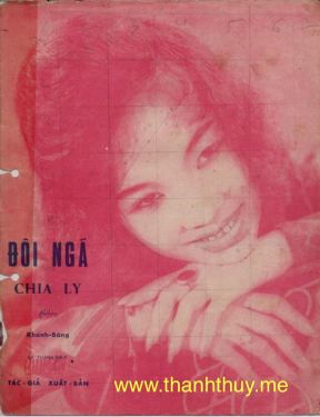 """Ảnh Thanh Thúy trên bìa bản nhạc """"Đôi ngã chia ly"""""""