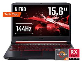Acer Nitro 5 (AN515-43-R90F) 39,6 cm (15,6 Zoll 144Hz Full-HD IPS matt) Gaming Notebook (AMD Ryzen 5 3550H, 8 GB RAM, 512 GB PCIe SSD, AMD Radeon RX 560X, Win 10) schwarz aluminium
